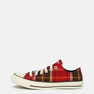 Červené dámske kockované tenisky Converse
