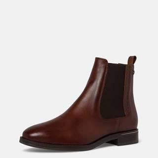 Tmavohnedé dámske kožené chelsea topánky Tamaris
