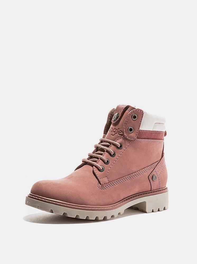 Wrangler Ružové dámske kožené zimné topánky Wrangler