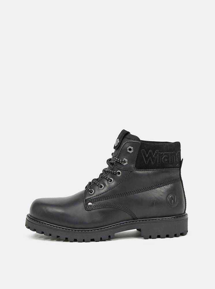 Wrangler Čierne pánske kožené zimné topánky Wrangler