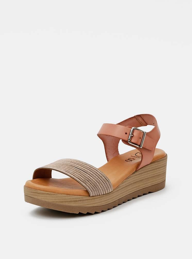 OJJU Staroružové kožené sandálky OJJU