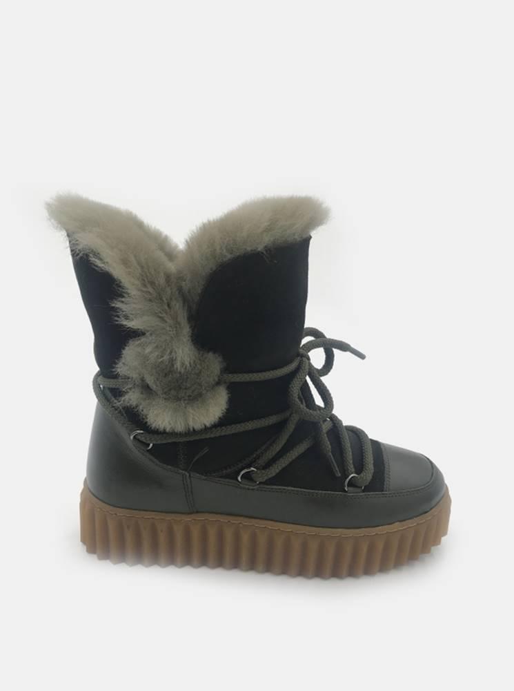 wild Kaki dámske kožené zimné topánky WILD