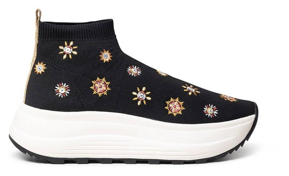 Desigual Desigual čierne ponožkové tenisky na platforme Shoes Spice Juliette