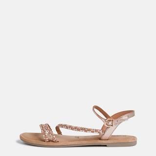 Kožené sandále v ružovozlatej farbe Tamaris
