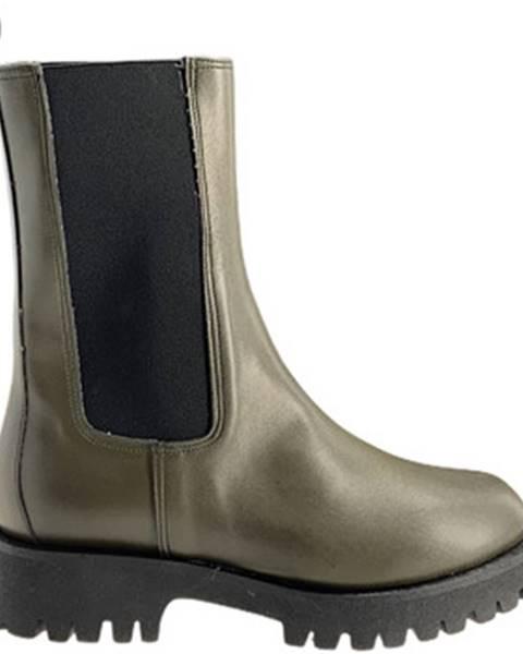 Zelené polokozačky Grace Shoes