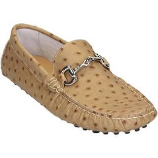 Mokasíny Leonardo Shoes  504 STRUZZO BEIGE