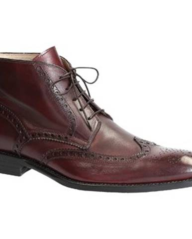 Polokozačky Leonardo Shoes  PINA 107 VITELLO BORDO