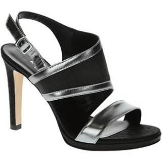 Sandále Leonardo Shoes  17111 PLISSE NERO SPECCHIO ACCIAIO T 3109P