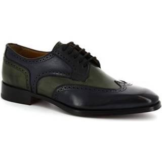 Derbie Leonardo Shoes  8734E19 TOM VITELLO DELAV? VERDE BLU
