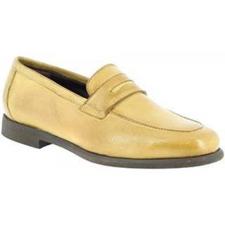 Mokasíny Leonardo Shoes  35591/1 PAPUA ORO BEIGE