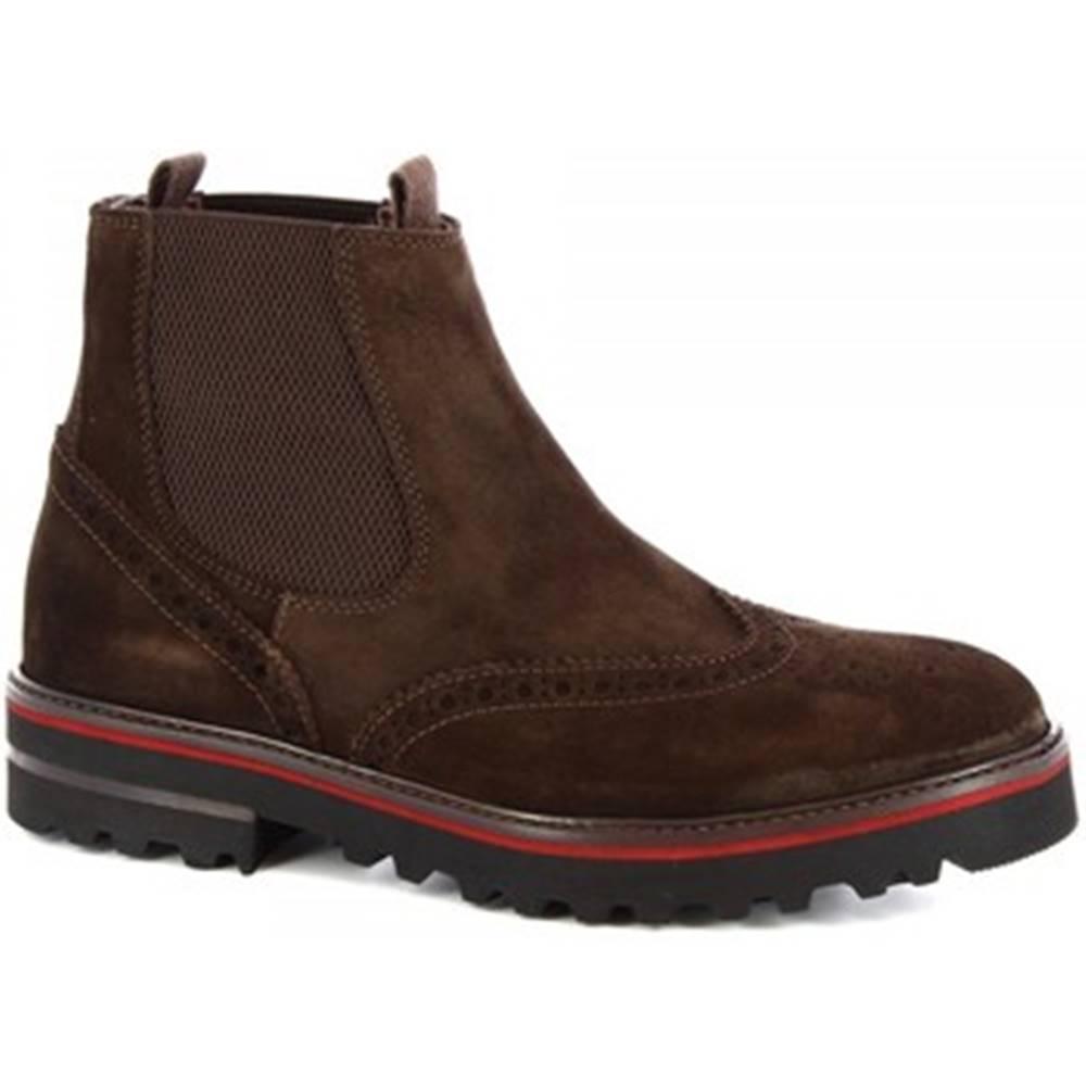 Leonardo Shoes Polokozačky  M631-90 VELUR T. MORRO
