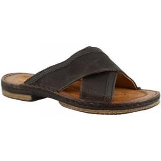 Šľapky Leonardo Shoes  434013 NERO/LEGNO