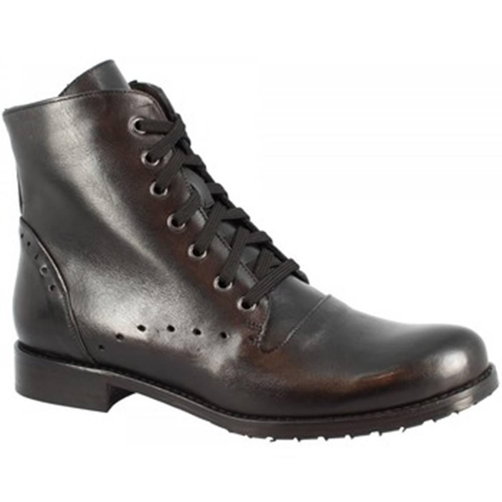 Leonardo Shoes Polokozačky Leonardo Shoes  604 VITELLO NERO