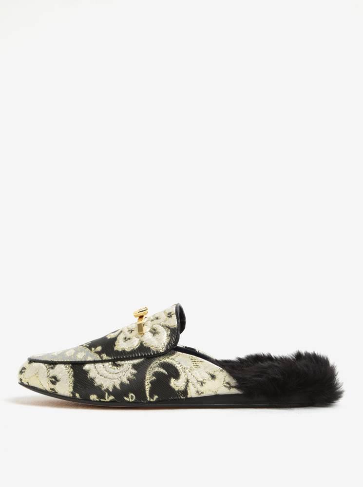 Čierno-zlaté dámske papuče ...
