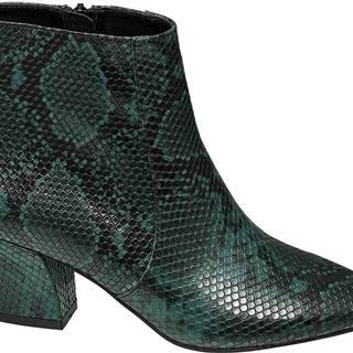 Star Collection - Zelené členkové čižmy so zvieracím vzorom Rita Ora