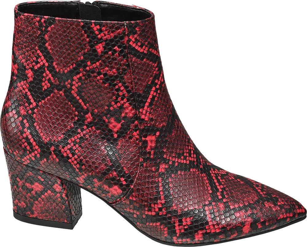 Star Collection Star Collection - Červené členkové čižmy so zvieracím vzorom Rita Ora