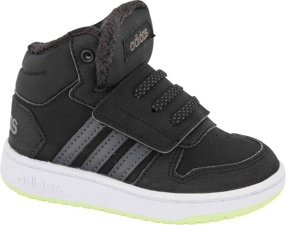 adidas adidas - Čierne členkové tenisky na suchý zips Adidas Hoops Mid 2.0
