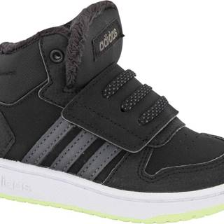 adidas - Čierne členkové tenisky na suchý zips Adidas Hoops Mid 2.0