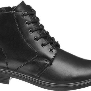 Wojas - Čierna kožená členková obuv so zipsom Wojas