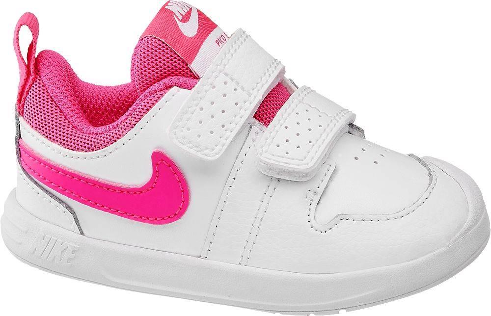 Nike NIKE - Biele tenisky na suchý zips Nike Pico