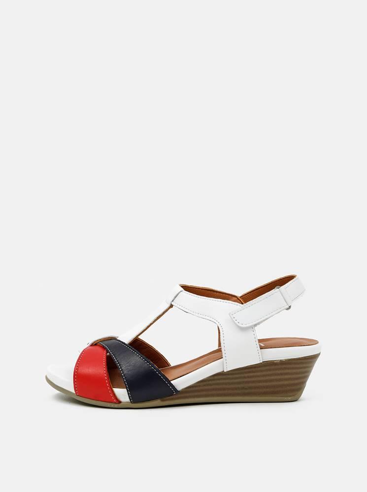 Červeno-biele kožené sandál...