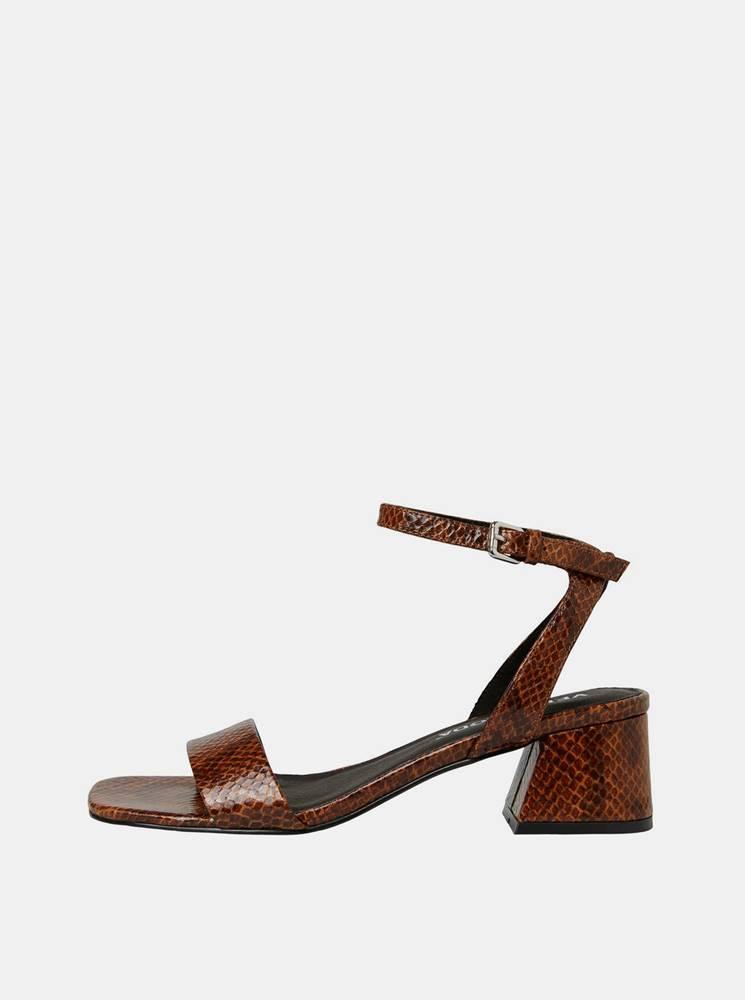 Vero Moda Hnedé sandálky s hadím vzorom VERO MODA Liza
