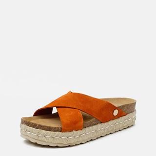Oranžové dámske semišové šľapky OJJU