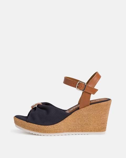 Tamaris Tmavomodré sandálky na plnom podpätku Tamaris