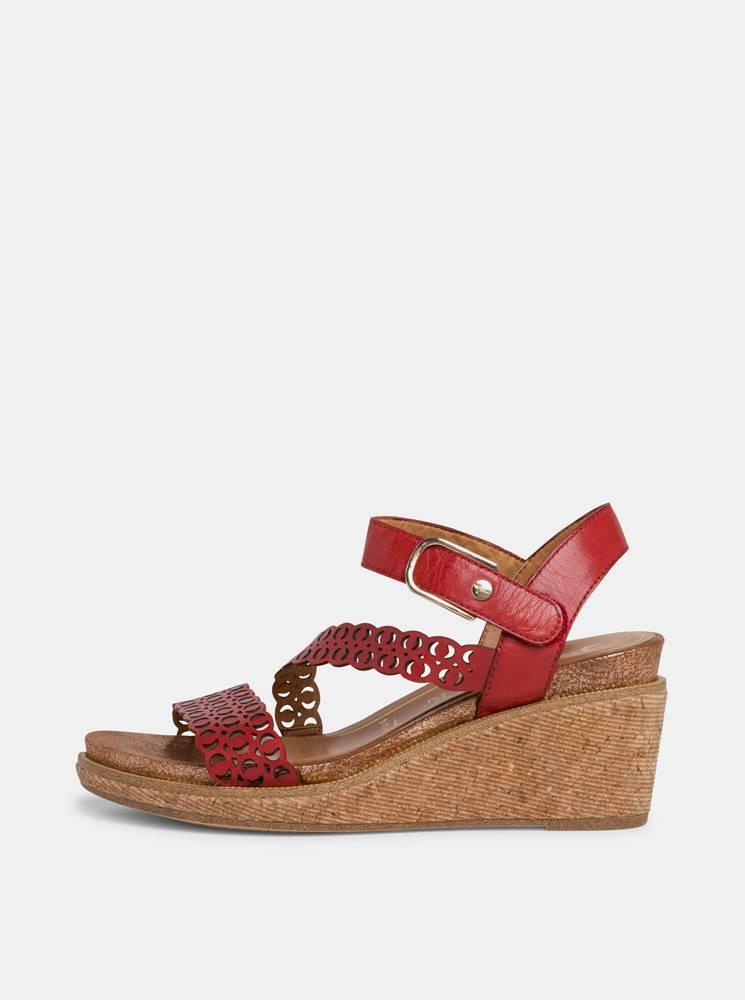 Tamaris Červené kožené sandálky na plnom podpätku Tamaris