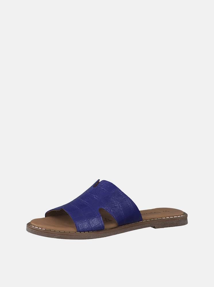 Tamaris Modré kožené šľapky s krokodýlím vzorom Tamaris